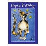 Tarjeta de felicitación del gato azul del feliz cu