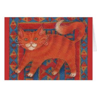 Tarjeta de felicitación del gato de la estera