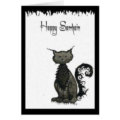 Tarjeta de felicitación del gato de Samhain