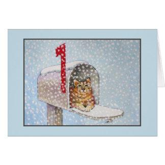 Tarjeta de felicitación del gato del navidad Nevad