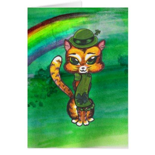 Tarjeta de felicitación del gato del St. Pat