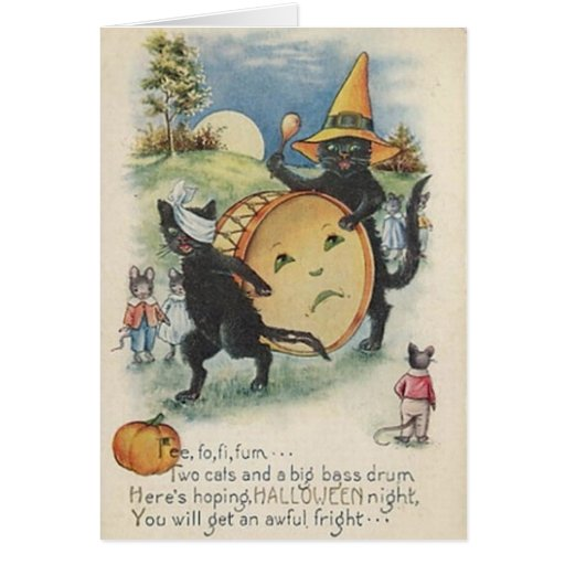 Tarjeta de felicitación del gato negro de Hallowee