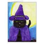 Tarjeta de felicitación del gato negro de Witchy