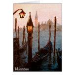 Tarjeta de felicitación del gondole de Venecia