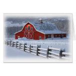 Tarjeta de felicitación del granero del invierno