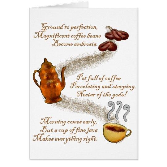 Tarjeta de felicitación del Haiku del café