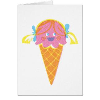 Tarjeta de felicitación del helado del chica de la