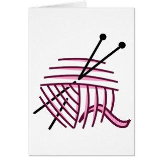 Tarjeta de felicitación del hilado rosado y de las