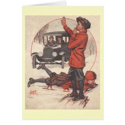 Tarjeta de felicitación del invierno del vintage -