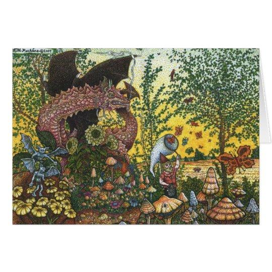 Tarjeta de felicitación del jardín del dragón