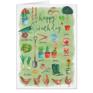 Tarjeta de felicitación del jardín el | del feliz