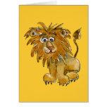 Tarjeta de felicitación del león del dibujo animad