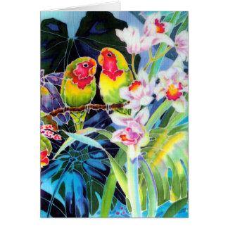 TARJETA de felicitación del LOVEBIRD con las orquí