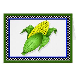 Tarjeta de felicitación del maíz en la mazorca