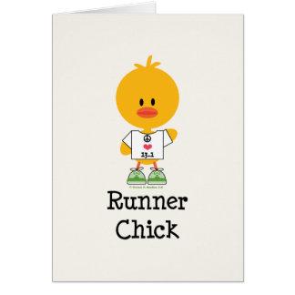 Tarjeta de felicitación del maratón del polluelo