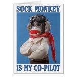 Tarjeta de felicitación del mono del copiloto
