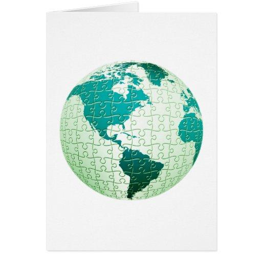 Tarjeta de felicitación del mundo del rompecabezas