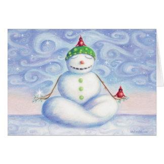 Tarjeta de felicitación del muñeco de nieve de la