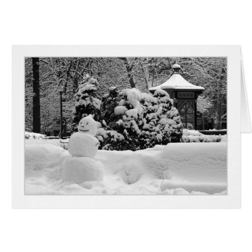 TARJETA de FELICITACIÓN del muñeco de nieve de Phi