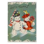 Tarjeta de felicitación del muñeco de nieve del na