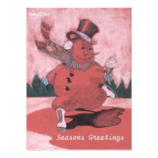 Tarjeta de felicitación del muñeco de nieve comunicado