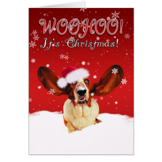 Tarjeta de felicitación del navidad de Basset Houn