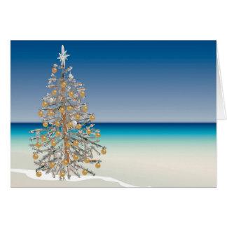 Tarjeta de felicitación del navidad de la playa