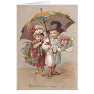 Tarjeta de felicitación del navidad de los pares d