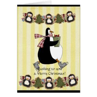Tarjeta de felicitación del navidad de Penquin