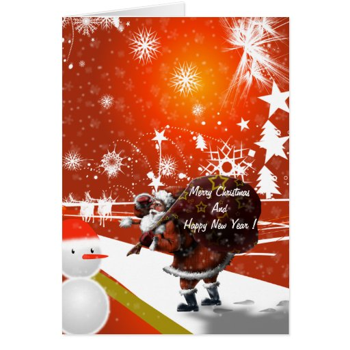Tarjeta de felicitación del navidad de Santa