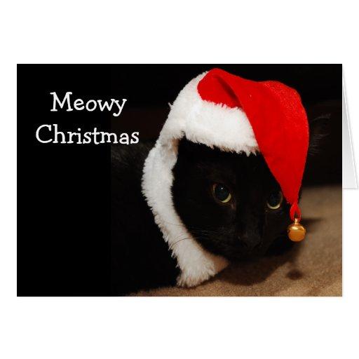 Tarjeta de felicitación del navidad del gato
