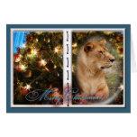 Tarjeta de felicitación del navidad del león de Ba