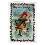 Tarjeta de felicitación del navidad del patinador