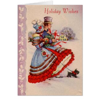 Tarjeta de felicitación del navidad que hace compr