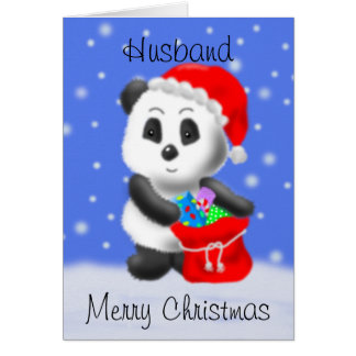 Tarjeta de felicitación del oso de panda del navid