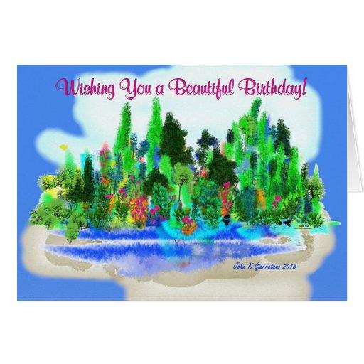 Tarjeta de felicitación del paisaje de la fantasía