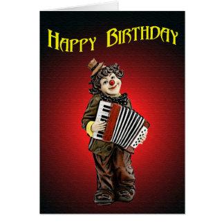 Tarjeta de felicitación del payaso del cumpleaños