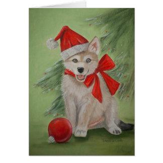 Tarjeta de felicitación del perrito de lobo de Nav