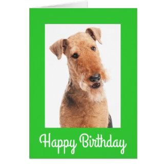 Tarjeta de felicitación del perro de Airedale Terr