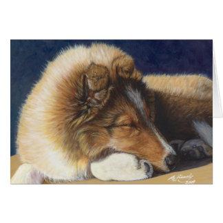Tarjeta de felicitación del perro pastor de Shelti