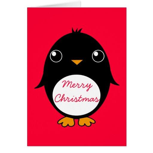 tarjeta de felicitación del pingüino:  Feliz Chris