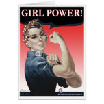 Tarjeta de felicitación del poder del chica