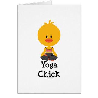 Tarjeta de felicitación del polluelo de la yoga