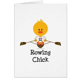 Tarjeta de felicitación del polluelo del Rowing