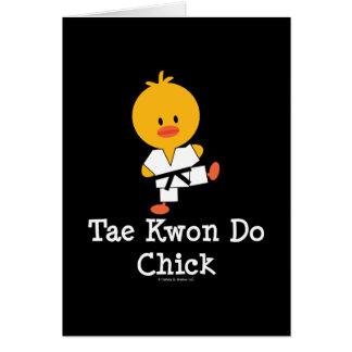 Tarjeta de felicitación del polluelo del Taekwondo