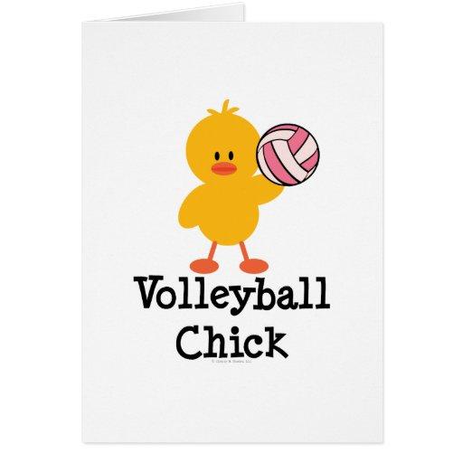 Tarjeta de felicitación del polluelo del voleibol