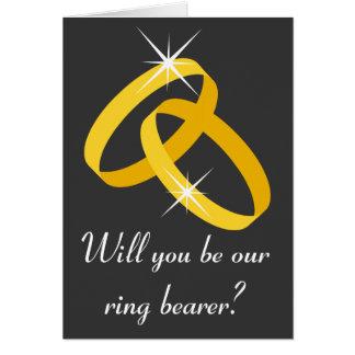 Tarjeta de felicitación del portador de anillo