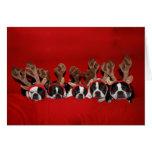 Tarjeta de felicitación del reno de Boston Terrier