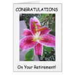 Tarjeta de felicitación del retiro
