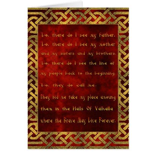Tarjeta de felicitación del rezo de Viking